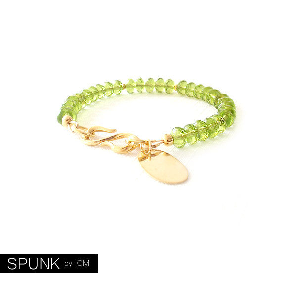 Gold Beaded Bracelet - Personalized Tag - Czech Glass Beads - Peridot Green - The Bohemian: August Birthstone 7x5mm Rondelle - product images  of