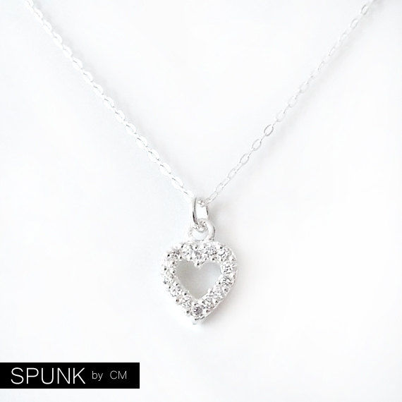 Silver Chain Charm Pendant Necklace - Cubic Zirconia, Sterling Silver - Silver - The Basics: Open Heart Pavé - product images  of