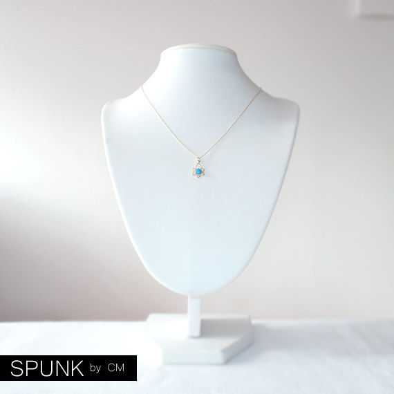 Minimalist Gold Chain Necklace - Turquoise, Gold Filled - Turquoise, Gold - The Basics: Minimalist Lotus Flower - product images  of