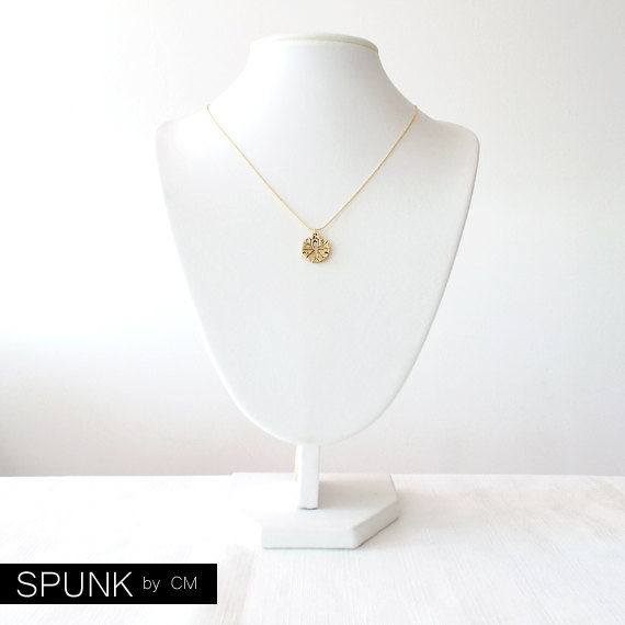 Gold Chain Charm Pendant Necklace - Sand Dollar - Gold - The Oceania: Summer Fauna - product images  of