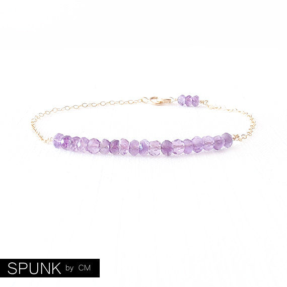 Minimalist Gemstone Gold Filled Chain Bracelet - Amethyst - Purple- The Skinny: Gemstone Bar - product images  of