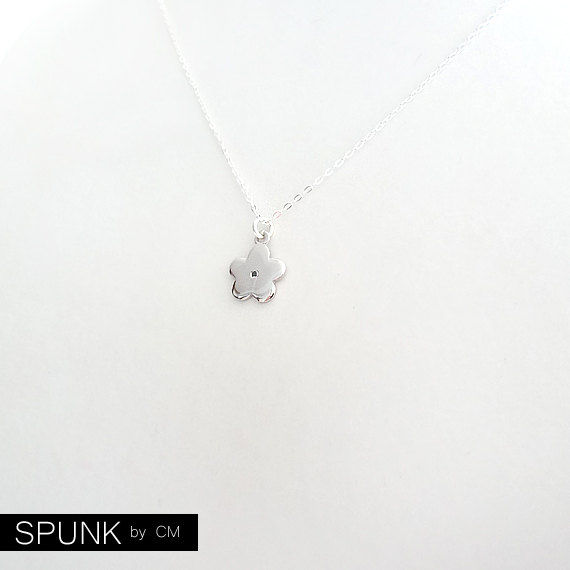 Minimalist Sterling Silver Chain Necklace - 0.01 Carat Genuine Black Diamond Gemstone - The Basics: Flower - product images  of