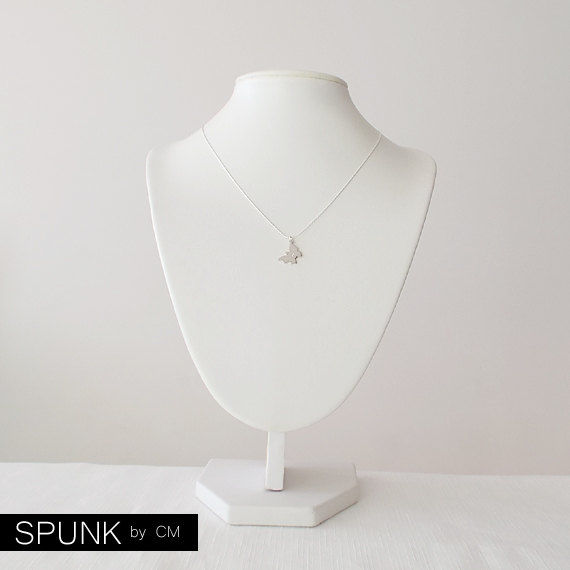 Minimalist Silver Necklace - 0.01 Carat Natural White Diamond Gemstone, Sterling Silver - The Basics: Diamond Butterfly - product images  of