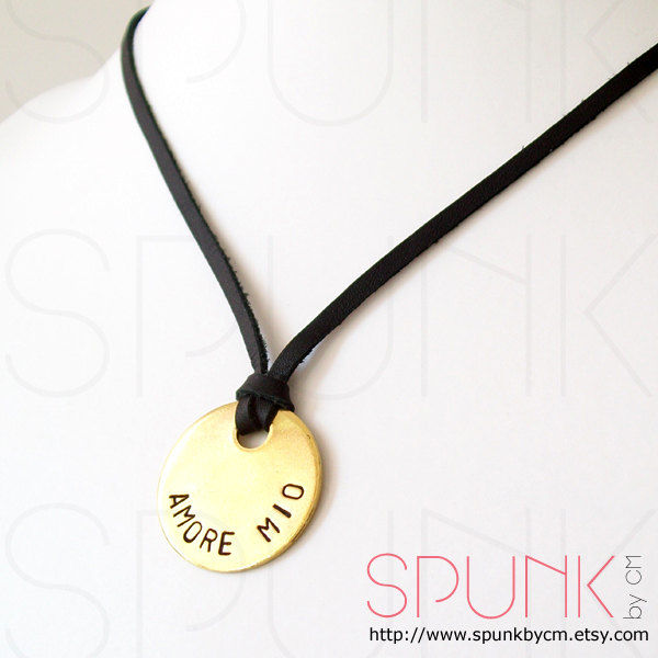 Leather Necklace, Handstamped Jewelry, Couple Necklace, Minimalist Necklace, Promise Jewelry, Love Necklace, Amore Mio, Italian - The Tagged - product images  of