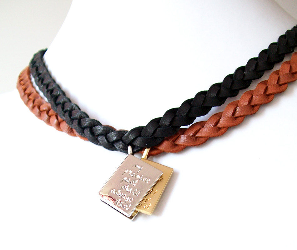 Leather Necklaces - Braided, Engraved - Genuine Leather - Black, Brown, Silver, Gold - Set of 2 - The Basics: Book and Page - product images  of