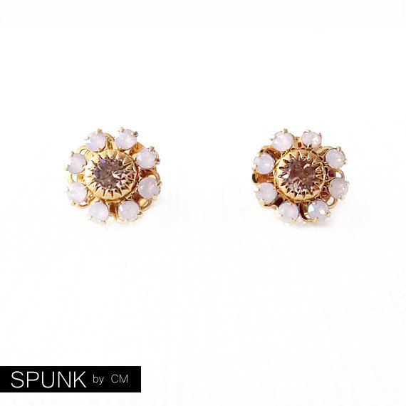 Gold Stud Earrings - Swarovski Crystal - Pink - The Cocktail: 12mm Flower - product images  of