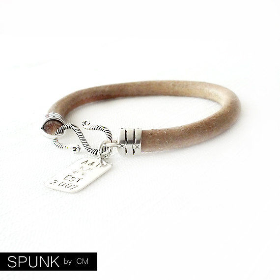 Round Leather Bracelet - Personalized Handstamped Sterling Silver Tag - Natural Bracelet - The Basics: 6mm Single Wrap - product images  of
