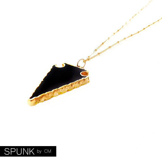 Gold Chain Gemstone Necklace - Onyx - Black, Gold - The Bohemian: Satellite Arrowhead - product images  of