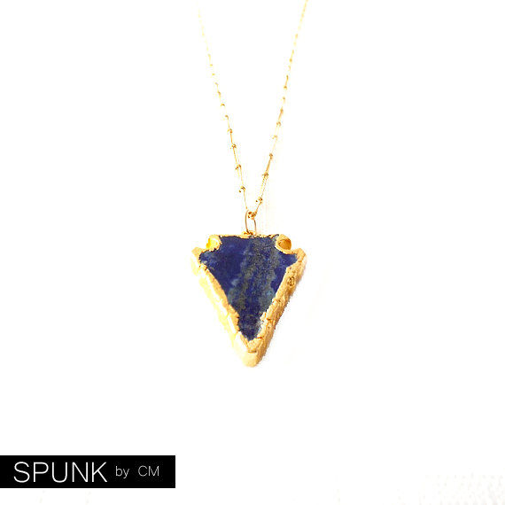 Gold Chain Gemstone Necklace - Lapis Lazuli - Blue, Gold - The Bohemian: Satellite Arrowhead - product images  of