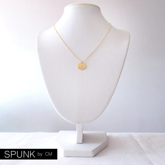 Minimalist Gold Chain Necklace - Personalized Tag - The Basics: Circle Taken Paw - product images  of