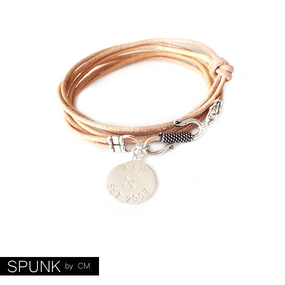 Round Leather Bracelet - Personalized Sterling Silver Tag - Natural - The Basics: 2mm Triple Wrap Six Strand Monogram, Crossed Arrows, Year - product images  of