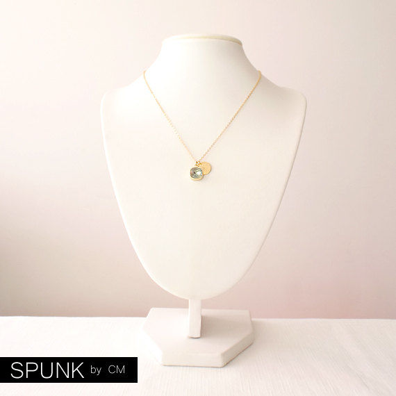Gold Chain Necklace - Swarovski Crystal, Brass - Green Aquamarine - The Basics: Personalized Monogram Initials Cushion Cut - product images  of