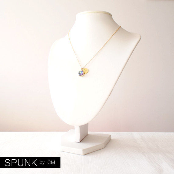 Gold Chain Necklace - Swarovski Crystal, Brass - Blue Purple - The Basics: Personalized Monogram Initials Cushion Cut - product images  of