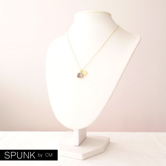 Gold Chain Necklace - Swarovski Crystal, Brass - Tanzanite - The Basics: Personalized Monogram Initials Cushion Cut - product images  of