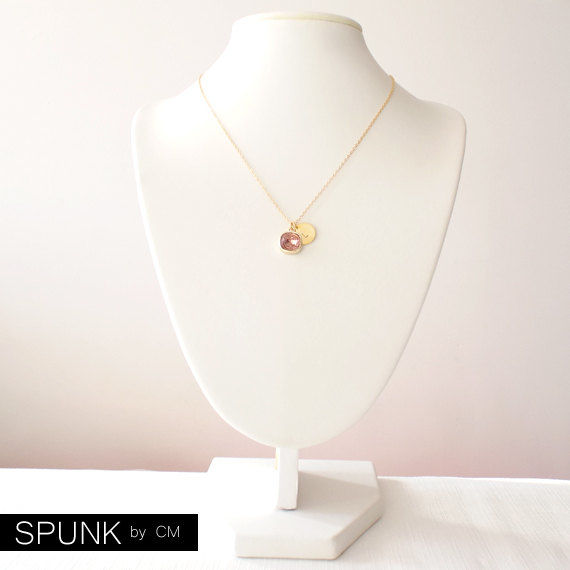 Gold Chain Necklace - Swarovski Crystal, Brass - Purple - The Basics: Personalized Monogram Initials Cushion Cut - product images  of