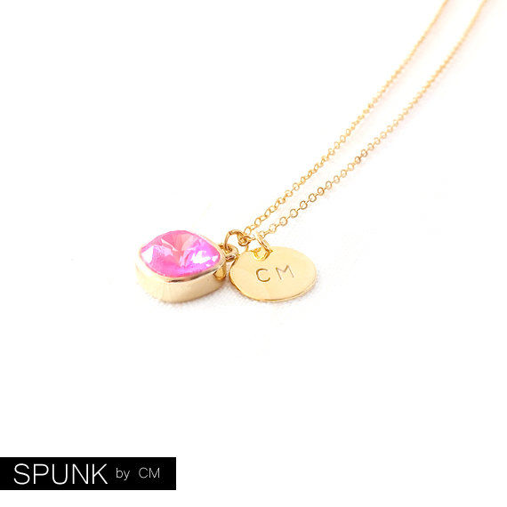 Gold Chain Necklace - Swarovski Crystal, Brass - Neon Hot Pink - The Basics: Personalized Monogram Initials Cushion Cut - product images  of