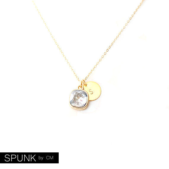 Gold Chain Necklace - Swarovski Crystal, Brass - Smoke Grey - The Basics: Personalized Monogram Initials Cushion Cut - product images  of