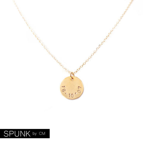 Minimalist,Gold,Chain,Necklace,-,Personalized,Tag,The,Basics:,Circle,Date,Jewelry,friendship_necklaces,personalized_jewelry,handstamped_brass,minimalist_necklace,gold_chain_necklace,bridesmaid_necklace,wedding_jewelry,jewelry_for_teens,couples_necklaces,gold_tag_necklace,promise_jewelry,spunkbycm_etsy,date_gold_necklac