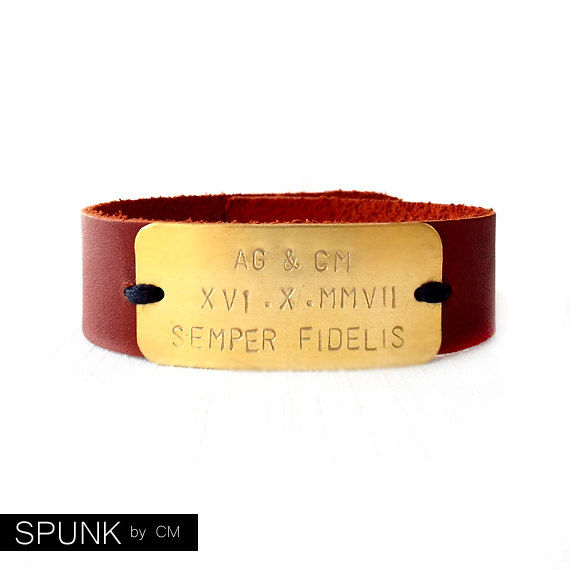 Leather Cuff Bracelet - Personalized Handstamped Brass Plate - Monogram Initials, Roman Numerals - Brown, Gold - The Basics: 20mm Strap - product images  of