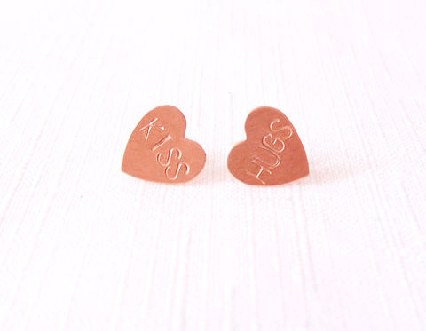 Sterling,Silver,Copper,Post,Stud,Earrings,-,Handstamped,Hearts,The,Basics:,Hugs,Kiss,Jewelry,conversation_hearts,copper_stud_earrings,silver_stud_earrings,jewelry_for_teens,anniversary_jewelry,hugs_kiss_earrings,minimalist_earrings,everyday_earrings,simple_earrings,copper_earrings,spunkbycm_etsy,toronto_jewelry,black_friday,coppe