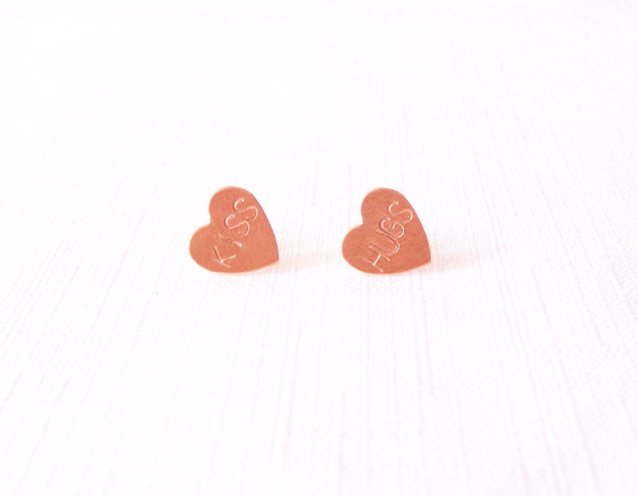 Sterling Silver Copper Post Stud Earrings - Handstamped Hearts - The Basics: Hugs Kiss - product images  of