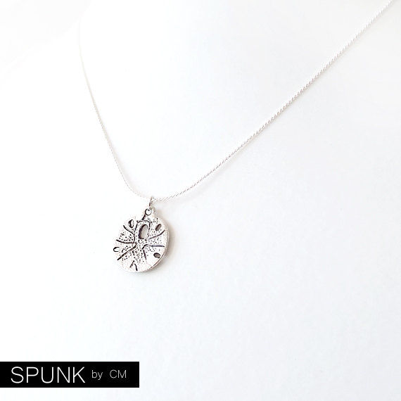 Silver Chain Charm Pendant Necklace - Sand Dollar - Silver - The Oceania: Summer Fauna - product images  of