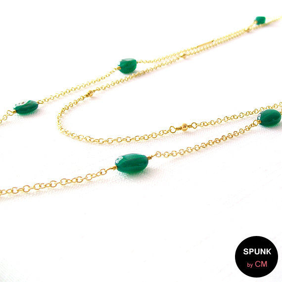 Layered Gold Chain Gemstone Necklace - Onyx - Green, Gold - The Bohemian: Double Minimalist - product images  of