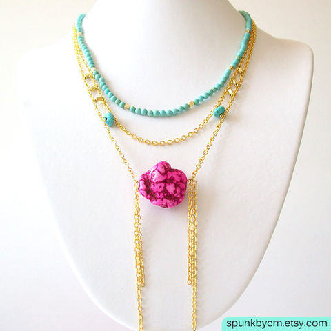 Layered,Gold,Chain,Gemstone,Necklace,-,Magnesite,,Glass,Beads,,Brass,Turquoise,,Pink,,The,Bohemian:,Chunky,Nugget,Fringe,Jewelry,gold_chain_necklace,turquoise_necklace,tribal_jewelry,turquoise_and_gold,turquoise_magnesite,brass_chain_necklace,layered_gold_chain,bib_gold_chain,gypsy_gold_jewelry,bohemian_jewelry,mint_chain_necklace,neon_pink_jewelry,fringe_necklace