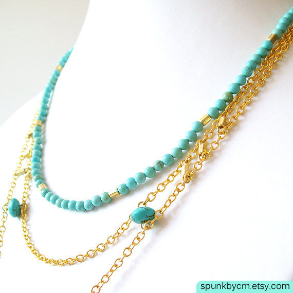 Layered Gold Chain Gemstone Necklace - Magnesite, Glass Beads, Brass - Turquoise, Pink, Gold - The Bohemian: Chunky Nugget Fringe - product images  of