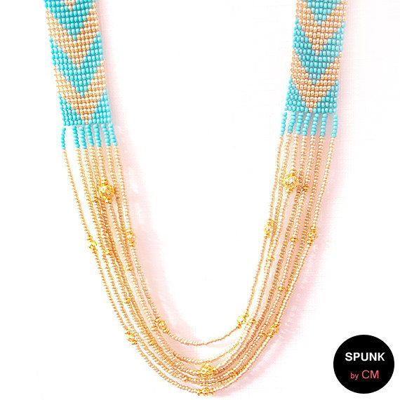 Layered Loom Necklace - Czech Glass Beads, Brass - Turquoise, Gold - The Bohemian: Chevron Fringe - product images  of