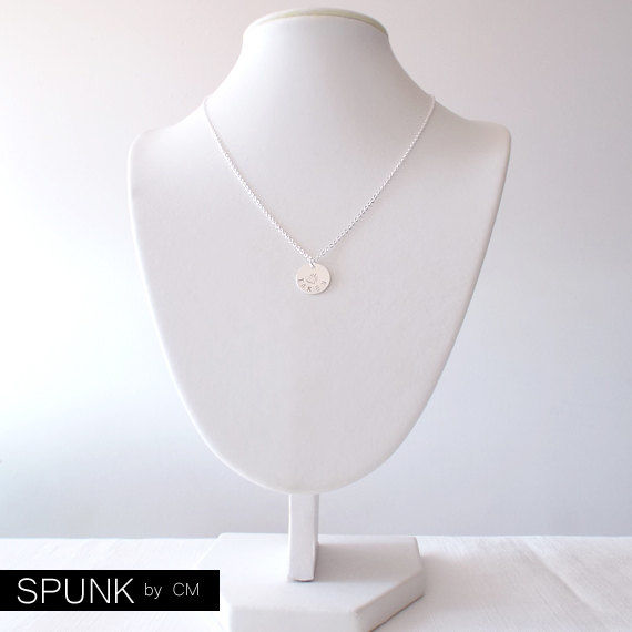 Minimalist Silver Chain Necklace - Personalized Tag - The Basics: Circle Taken Paw - product images  of