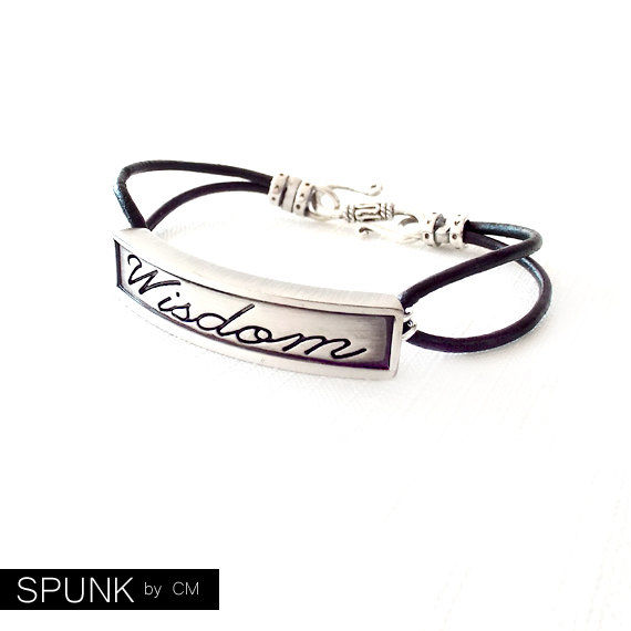Round Leather Bracelet - Affirmation Word - Silver, Black - The Basics: 2mm Double Strand Wisdom - product images  of