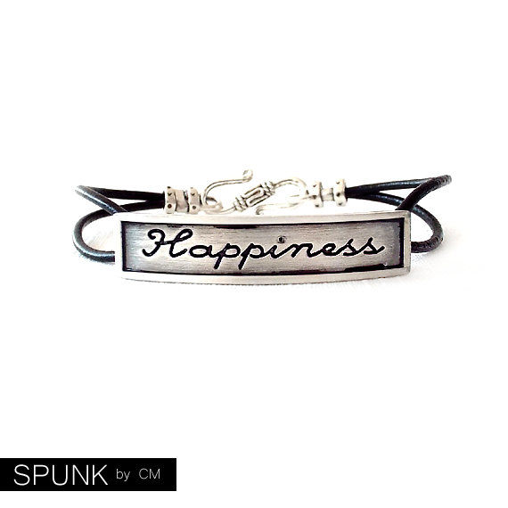 Round Leather Bracelet - Affirmation Word - Silver, Black - The Basics: 2mm Double Strand Happiness - product images  of