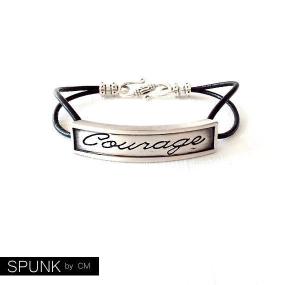 Round Leather Bracelet - Affirmation Word - Silver, Black - The Basics: 2mm Double Strand Courage - product images  of
