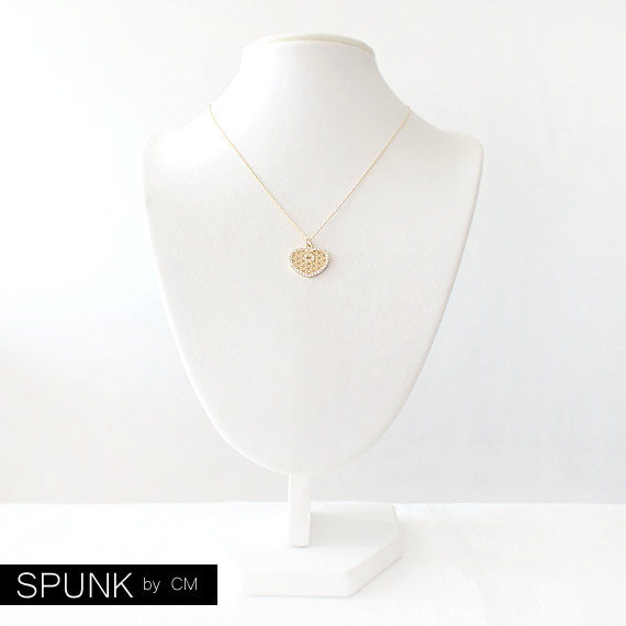 Minimalist Gold Filled Necklace - Swarovski Crystal - Gold - The Basics: Pavé Heart Star Cut-out - product images  of