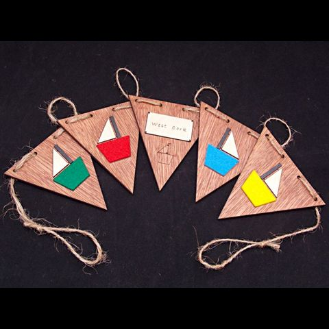 Wooden,West,Cork,Boat,Bunting,wooden, sailing boat bunting, rossbrin creative, west cork