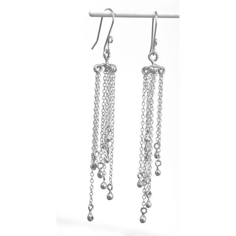 Handmade,silver,'chain',earrings,silver earrings, chain, norbert abel, west cork crafts