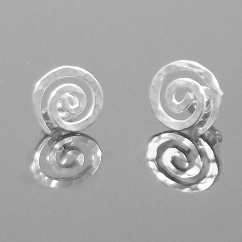 Handmade,silver,'snail',stud,earrings,silver stud earrings, hammered, snail, celtic, norbert abel, west cork crafts