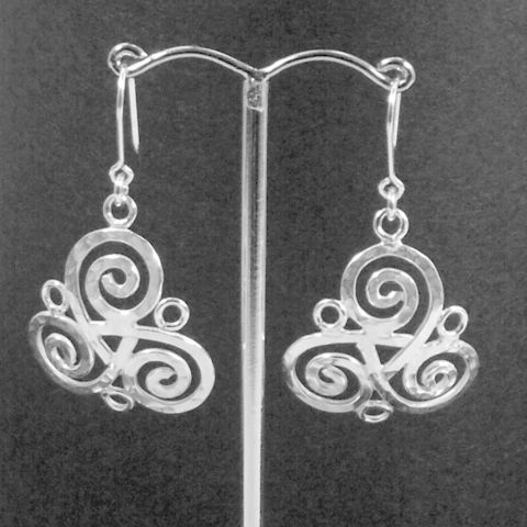 Handmade,silver,'Triskele',earrings,silver earrings, ornate triple spiral, triskele, norbert abel, west cork crafts