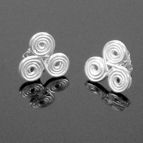 Handmade,silver,'triple,spiral',stud,earrings,silver stud earrings, triple spiral, norbert abel, west cork crafts