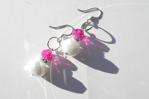 Pink,and,White,Earrings, wedding, earrings, handmade, ndnchick, Native American