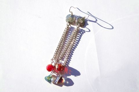 Red Heart Dangle Chain Earrings - product images  of