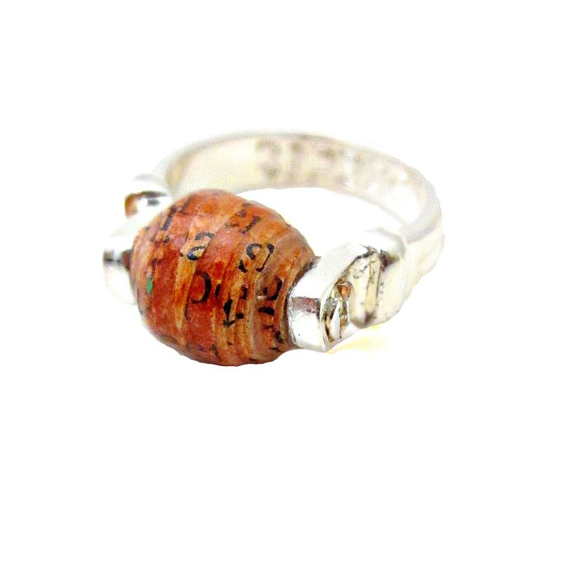 Recycled Paper Ring, Rust Colored Paper Bead on Silver Plated Size 5 Ring - product images  of