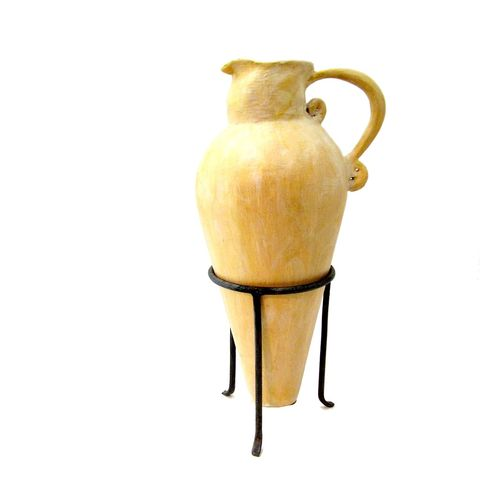 Handmade,Gold,Paper,Mache,Pitcher,with,Tripod,,Recycled,Decor:,Etrusca,gold pitcher with tripod, handmade paper mache vase, recycled decor, gold papier mache, paper mache vase with stand, recycled accents