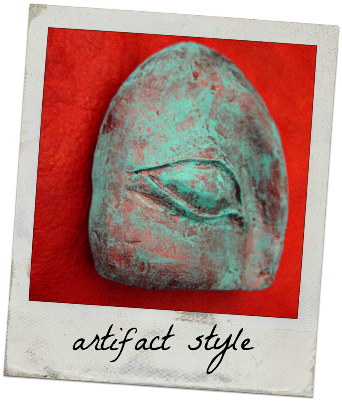Paper Mache Eye Sculpture, Patina Blue Recycled Abstract Art: Ancient Infinite #004 - product images  of