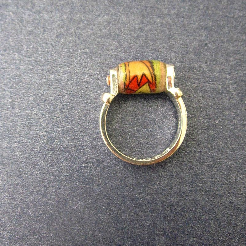 Recycled Paper Ring, Sunday Comics Paper Bead on Silver Plated Size 6 Ring: Panel - product images  of