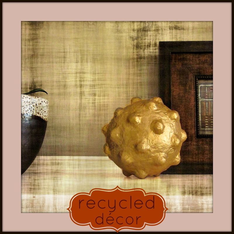 Big Gold Paper Mache Ball, Rustic Decorative Knobbly Papier Mache Orb Sculpture: Horny Ball - product images  of
