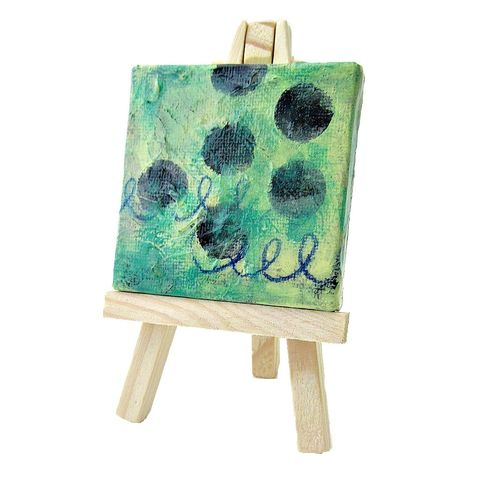 Miniature,Original,Abstract,Acrylic,Painting,on,2x2,Canvas,with,Easel:,Soft,Sea,mini pastel abstract painting on canvas, mini painting with easel, tiny green square painting, original abstract painting, collectible painting, small green painting with easel