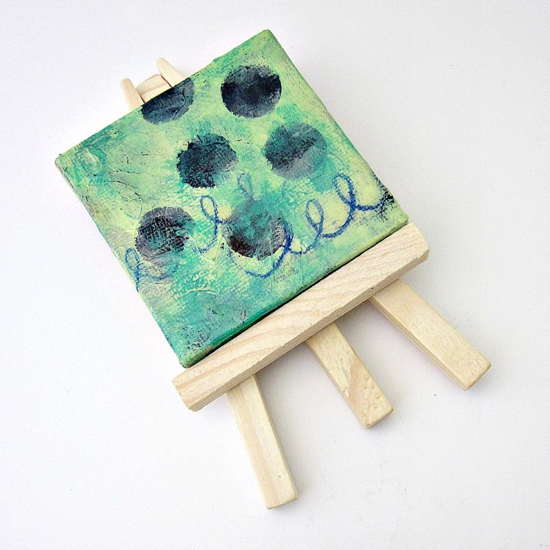 miniature original abstract acrylic painting on 2x2 canvas with easel soft sea product images acryclic painting soft
