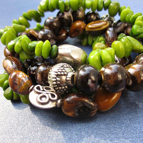 Set,of,Four,Beaded,Stretch,Bracelets,with,Stone,and,Ceramic,Beads:,Papua,Jewelry,Bracelet,beaded_bracelet,earthy_bracelet,chunky_bracelet,neutral_colors,rustic_bracelet,bracelet_set,stretch_bracelet,elastic_bracelet,adjustable_bracelets,four_bracelets,green_and_brown,set_of_4_bracelets,brown_and_green,rustic silver fini
